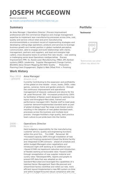 Area Manager Resume samples - VisualCV resume samples database