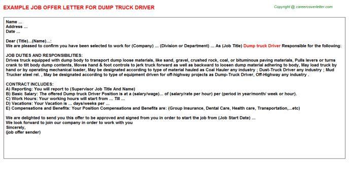 Dump Truck Driver Job Title Docs