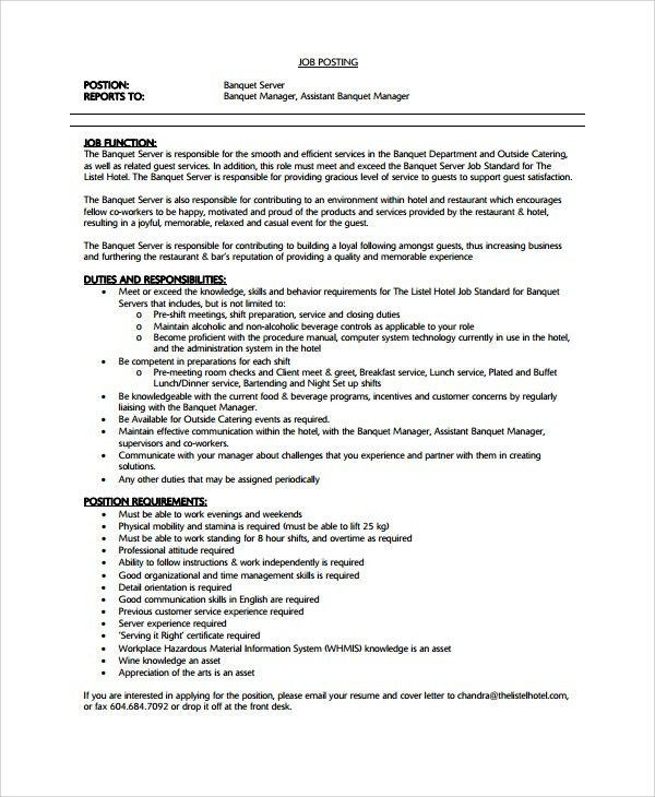 Sample Waiter Resume - 6+ Documents in PDF, Word