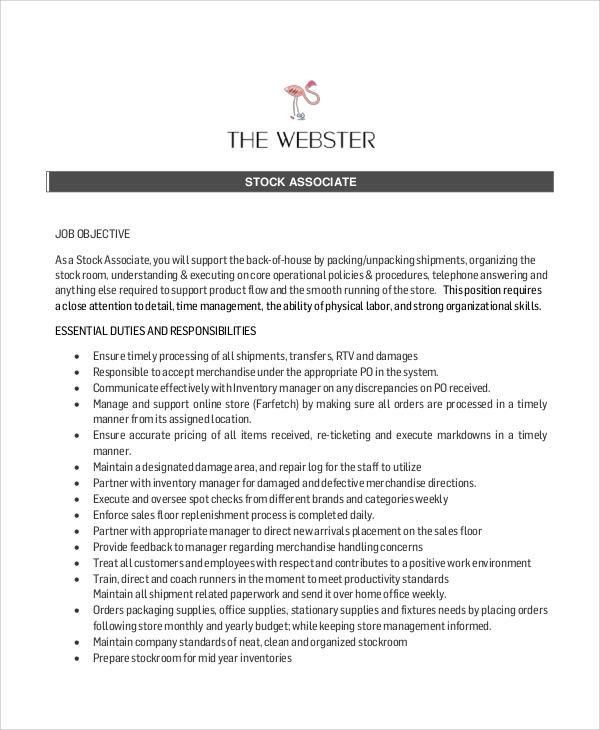 stocker job description sample stock associate job description - Production Associate Job Description