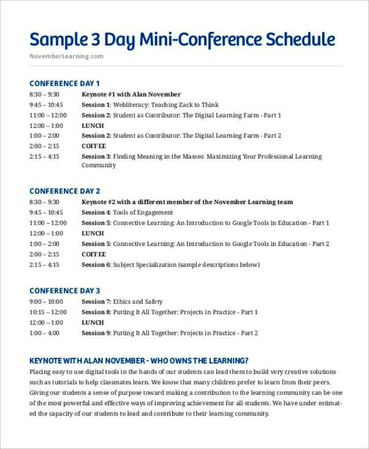 Basic Conference Time Schedule Template | TemplateZet
