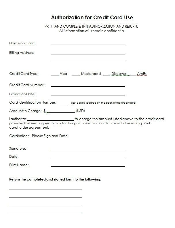 Credit Card Authorization Form Template | sanjonmotel