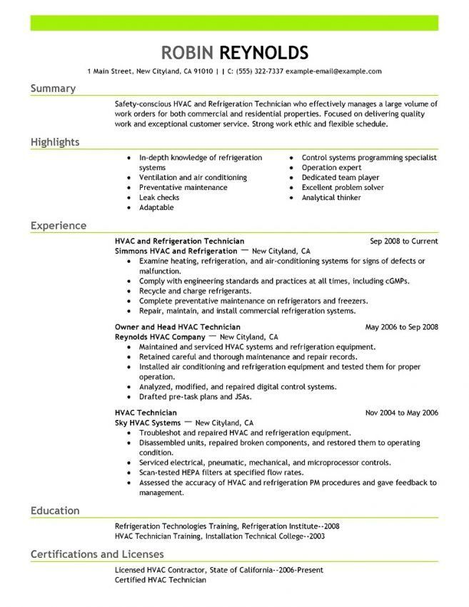 Sample Resume For Hvac Maintenance Engineer - Contegri.com