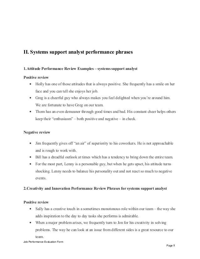 Systems support analyst performance appraisal