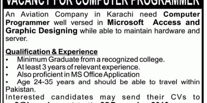 Graphic Designing Job, Aviation Company Karachi Job, Computer ...