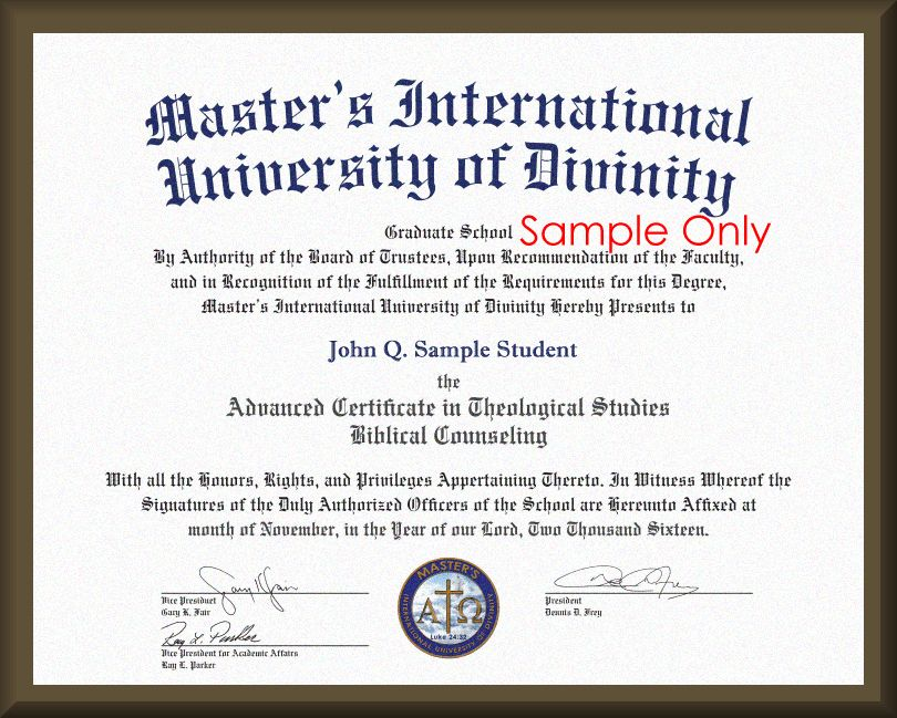 MASTER'S International University of DIVINITY - Degree Replacement