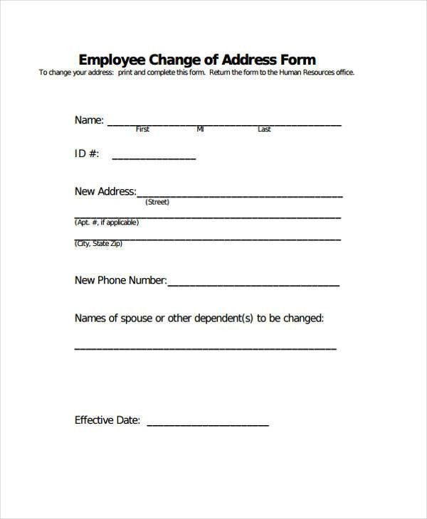 Printable Change Form