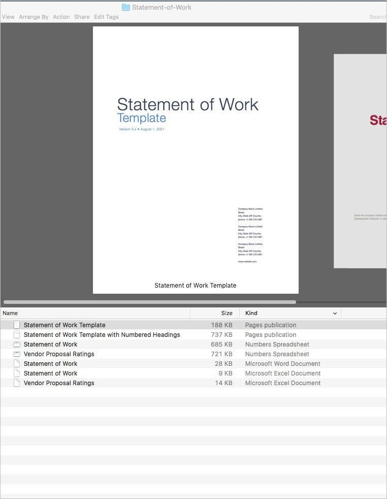 Statement of Work (Apple iWork Pages/Numbers)