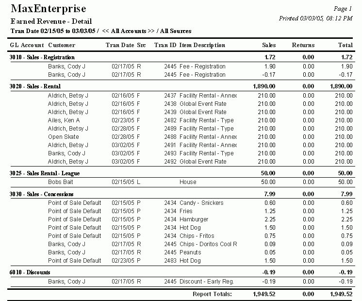 MaxEnterprise Sample Reports