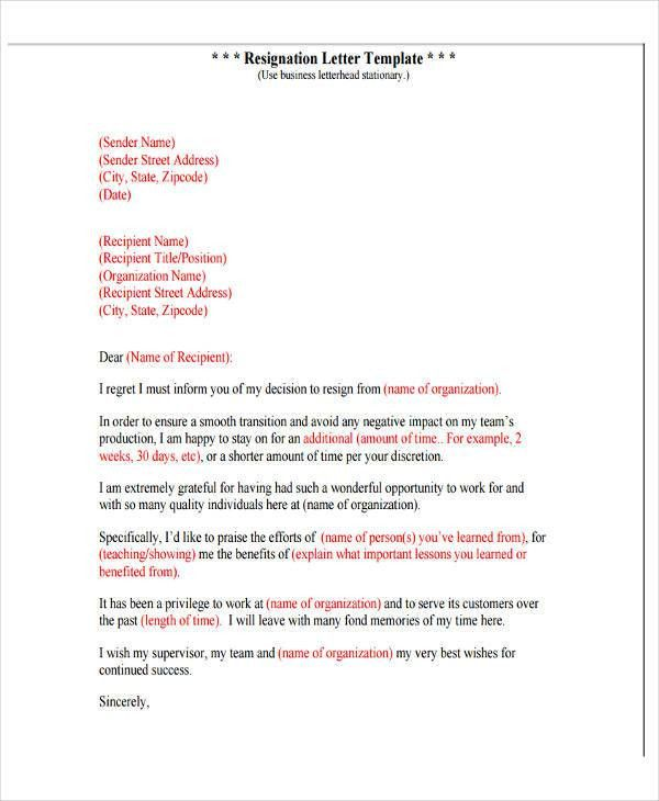 4+ Resignation Letter with Regret Template - 5+ Free Word, PDF ...