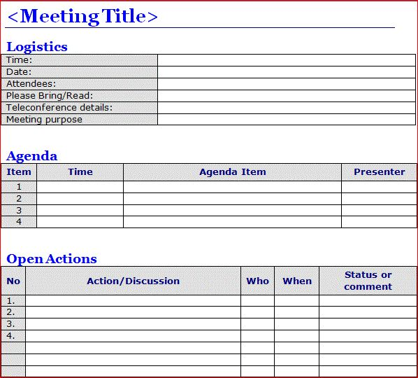 Minutes of Meeting Template Word | Projectemplates | Excel Project ...