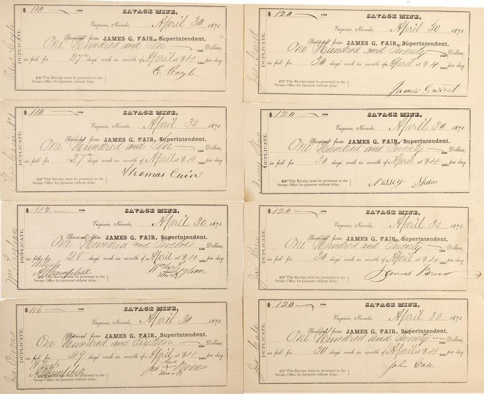 NV - Virginia City,Storey County - Savage Mine Payroll Receipts ...