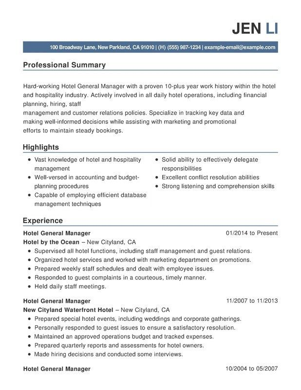 Download Hospitality Resume | haadyaooverbayresort.com
