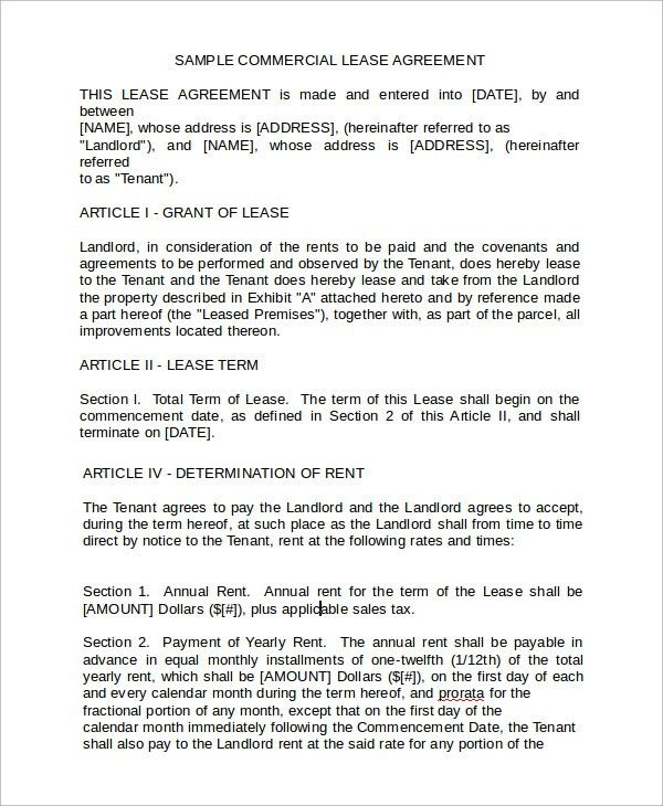 Sample Business Rental Agreement Template - 7+ Free Documents ...