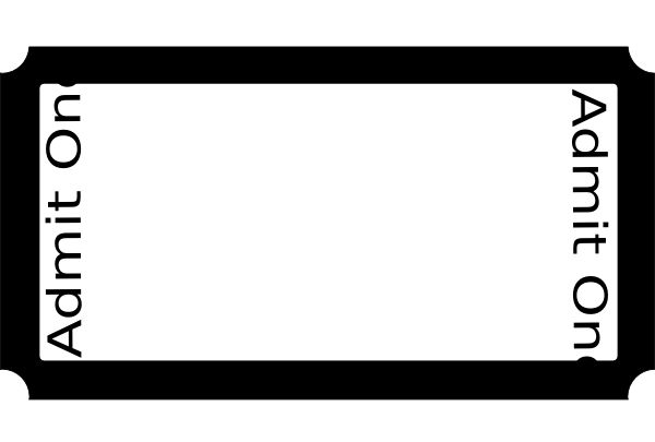 Bold Black Border of Blank Ticket Template Example with White ...