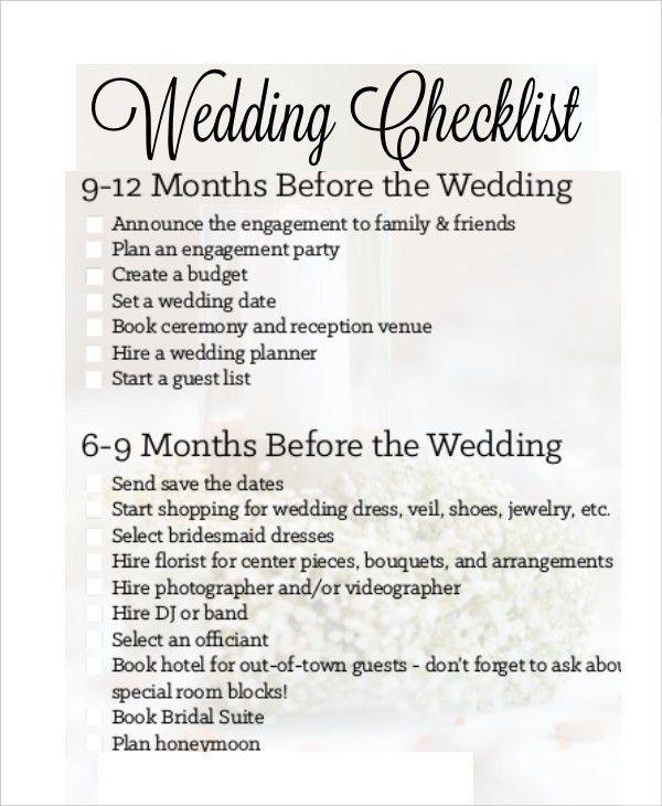Simple Wedding Checklist - 20+ Free Word, PDF Documents Download ...