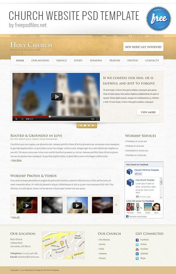 Church Website PSD Template - Free PSD Files