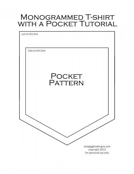 Printable Shirt Pocket Pattern | Monogrammed T-shirt with a ...