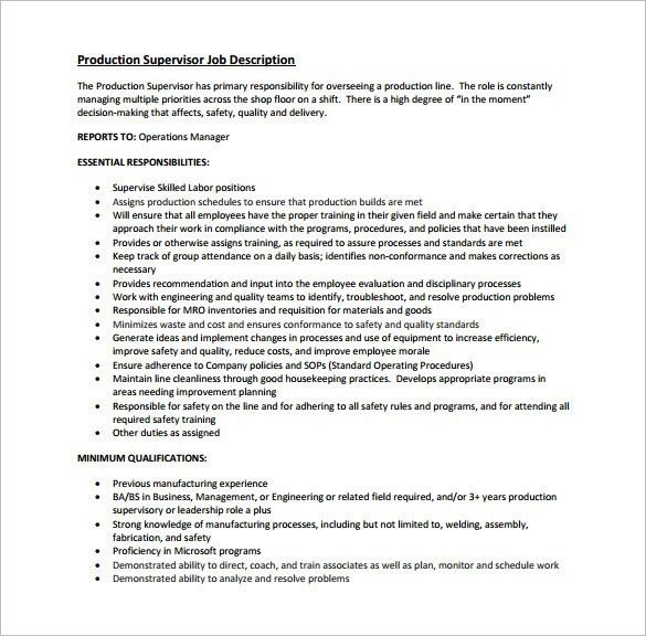 Supervisor Job Description Template - 10+ Free Word, Excel, PDF ...