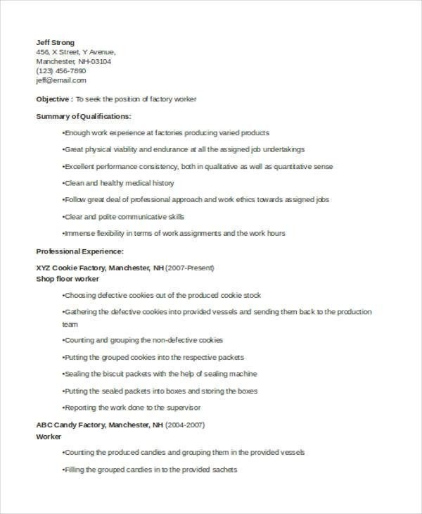 Line worker sample resume