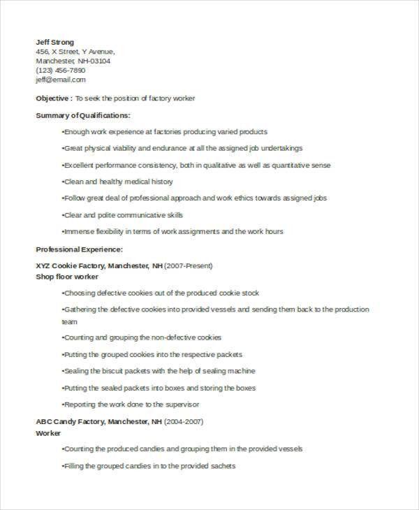 Line worker sample resume