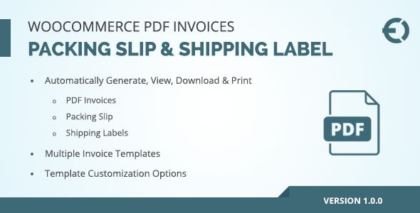 WooCommerce PDF Invoice, Packing Slip & Shipping Label by extendons