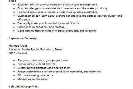 recent graduates resume artist. makeup artist resume examples ...