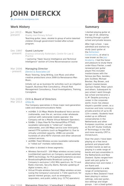 Music Teacher Resume samples - VisualCV resume samples database