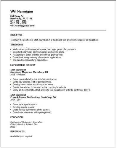 About Sample Journalist Resumes