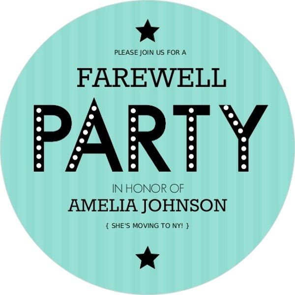 Turquoise Stripe Farewell Party Invite | Going Away Party ...