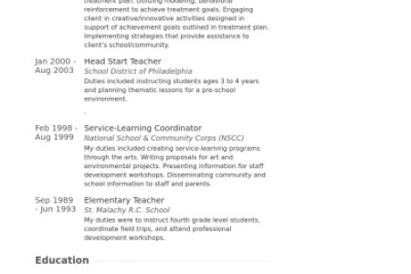Head Start Teacher Resume Samples - Reentrycorps