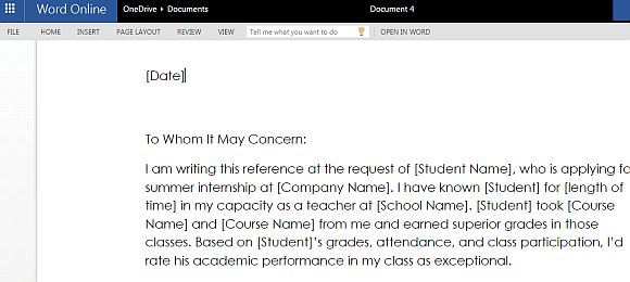 Student Reference Letter Template for Microsoft Word