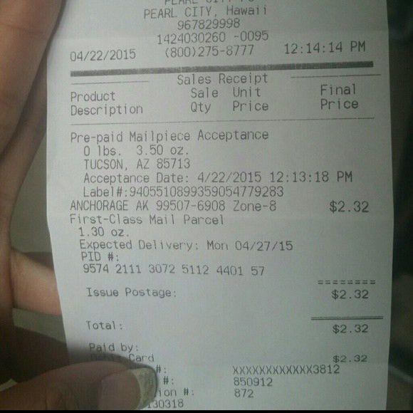 Shipment receipt none from M.'s closet on Poshmark