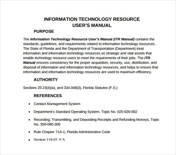 Sample IT Manual Template - 6+ Free Documents in PDF, Word