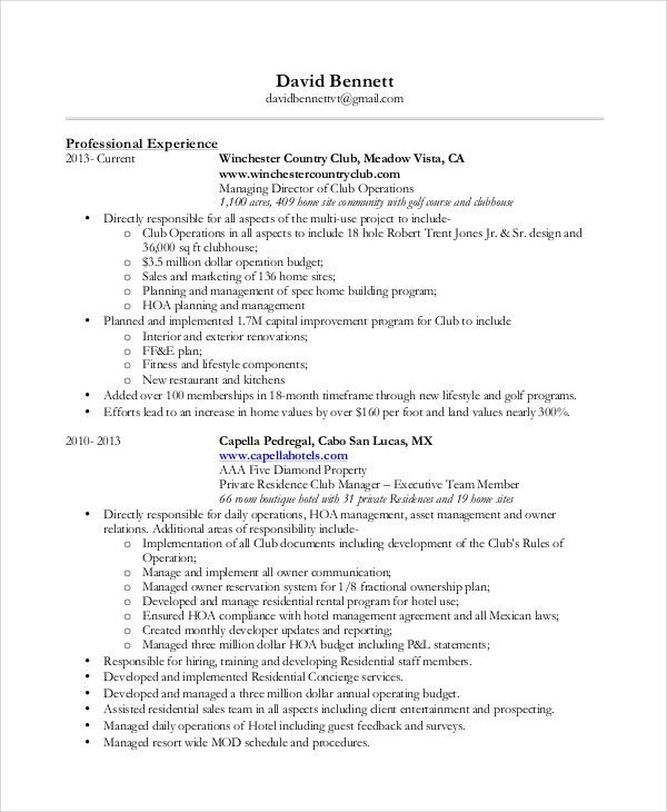 Concierge Resume Template - 3+ Free PDF Documents Download | Free ...