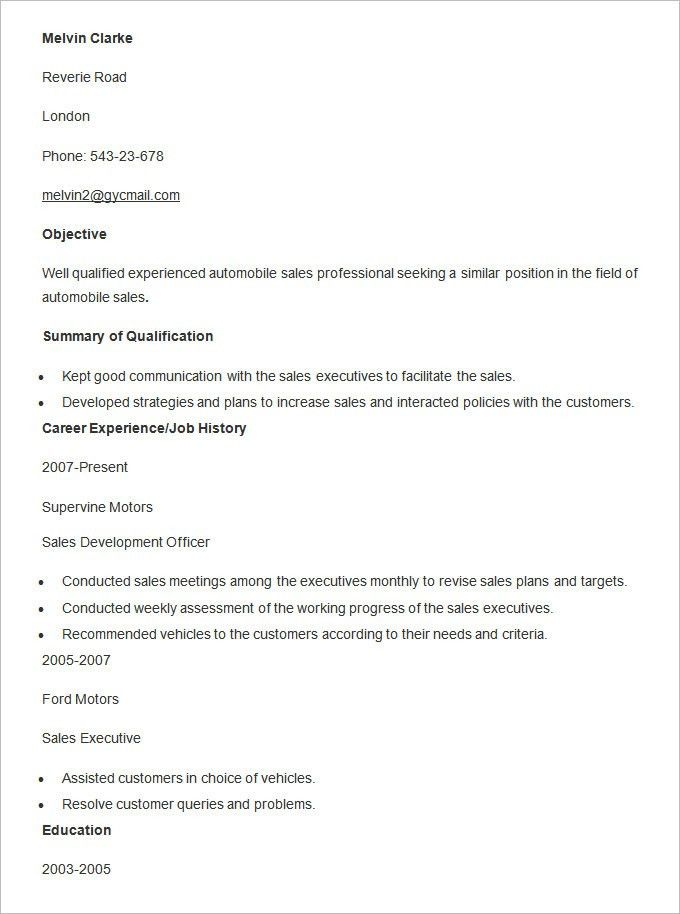 Automobile Resume Template U2013 22+ Free Word, PDF Documents Download .  Car Sales Resume