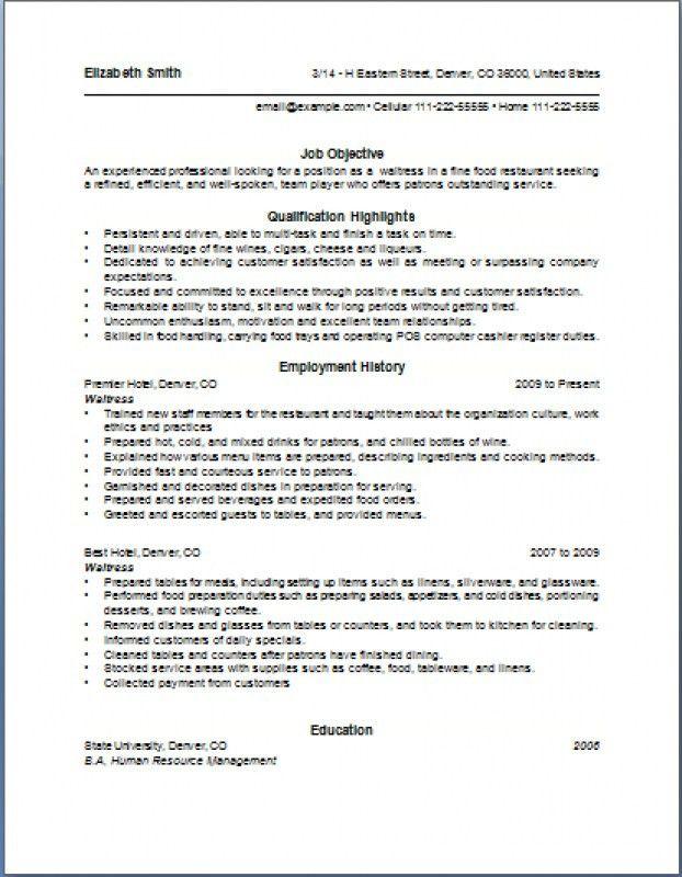 Waitress Resume Description – Resume Examples