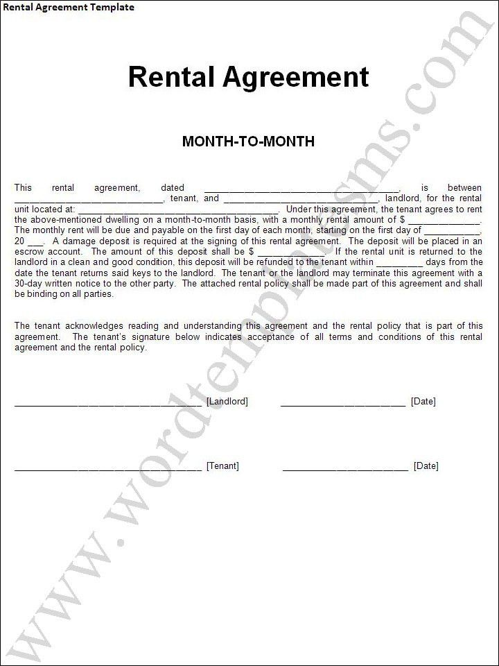 Rental Agreement Template Download Page | Word Excel Formats