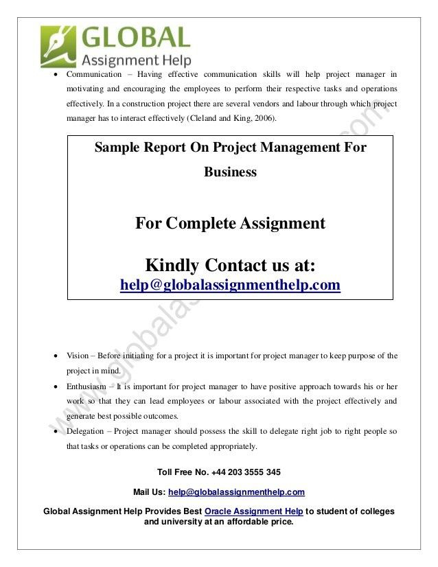 Sample Report On Project Management For Business By Global Assignmen…