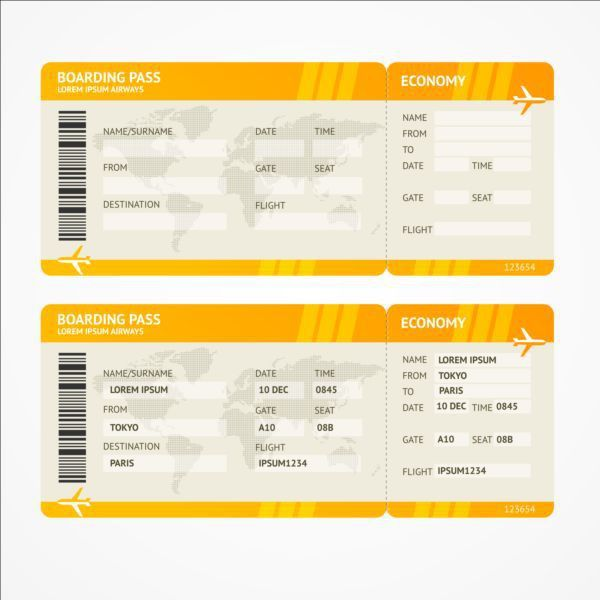 Airline tickets template design vector 07 - Vector Life free download
