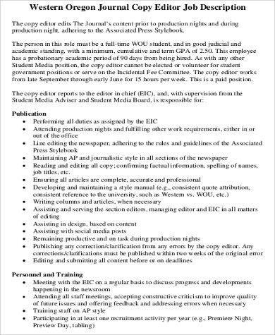 Editor Job Description. Film Editor Job Description Related .