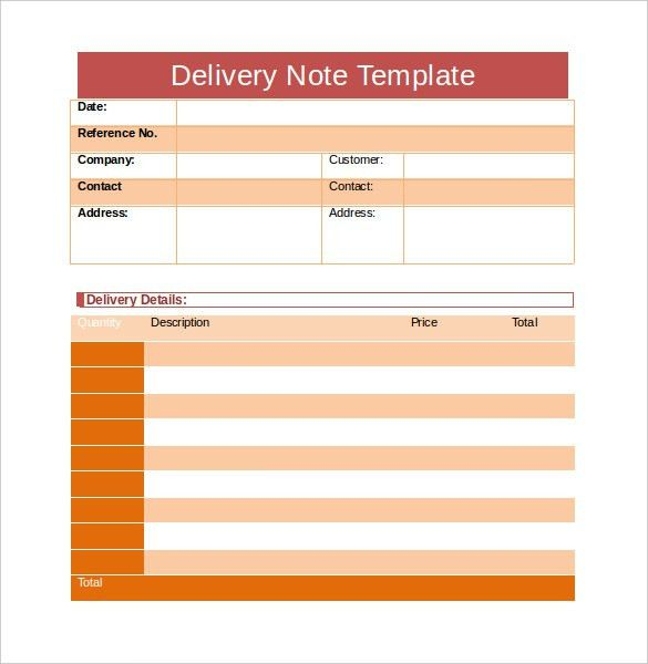 Delivery Note Template - 22+ Free Word, PDF Format Download ...
