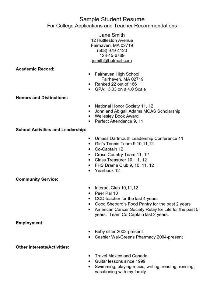 Resume Examples. resume for college application template high ...