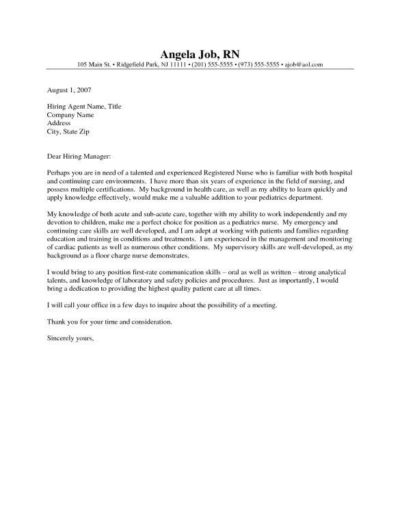 Appealing Registered Nurse Manager Cover Letter plus Medical ...
