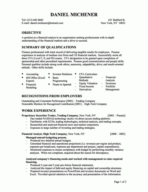 entry level financial analyst resume Example - Writing Resume ...