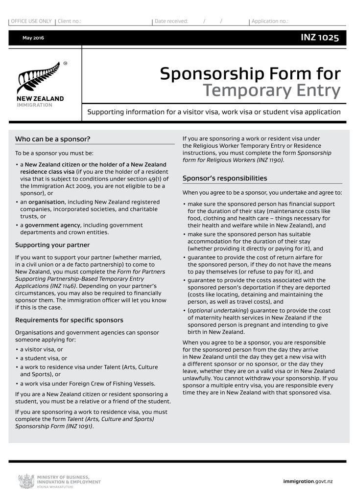 Sponsorship Form for Temporary Entry (INZ 1025)