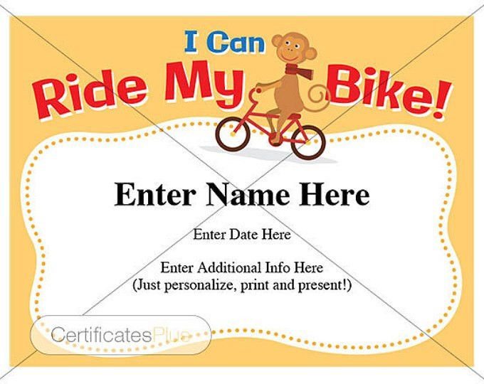I can ride my bike award certificate template. Fill in name and ...