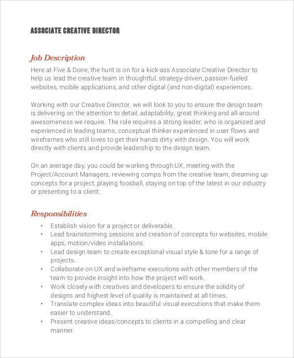 sample creative director job description 8 examples in pdf word - Creative Director Resume Sample