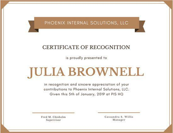 Simple Brown Certificate of Recognition - Templates by Canva