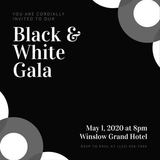 Black and White Circles Gala Invitation - Templates by Canva